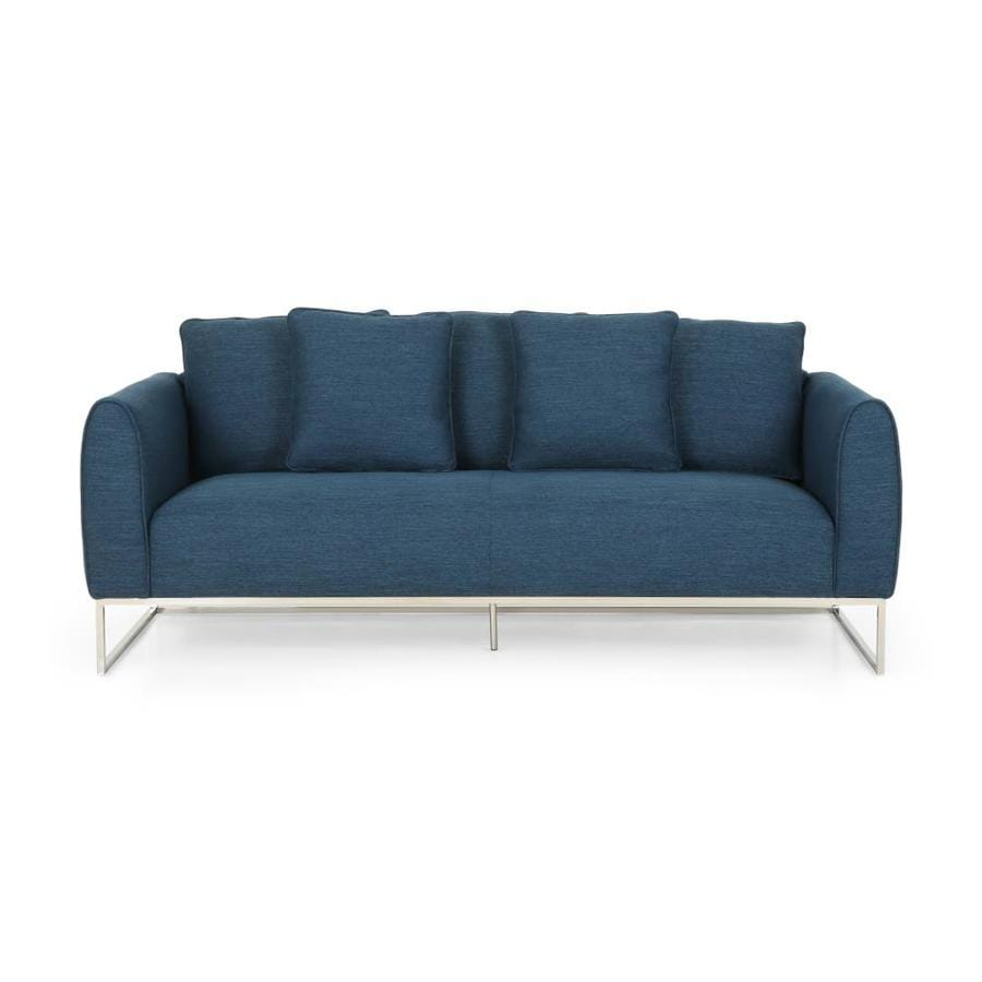 Best Selling Home Decor Canis Bay Modern Fabric 3 Seater Sofa Navy Blue And Silver In The Couches Sofas Loveseats Department At Lowes Com