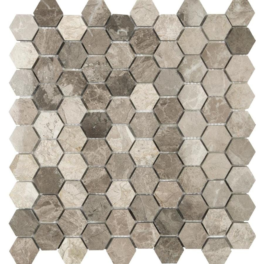 Anatolia Tile Silver Creek Honeycomb Mosaic Marble Wall Tile (Common: 12-in x 12-in; Actual: 12.04-in x 11.57-in)
