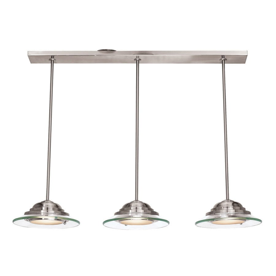 Access Lighting Phoebe 35.5-in W 3-Light Brushed Steel Standard Kitchen Island Light with Clear Shade