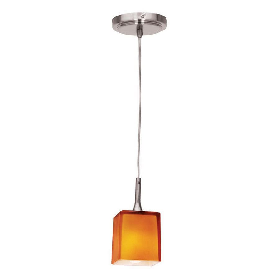 Access Lighting Hermes 3-in Brushed Steel Mini Tinted Glass Square Pendant