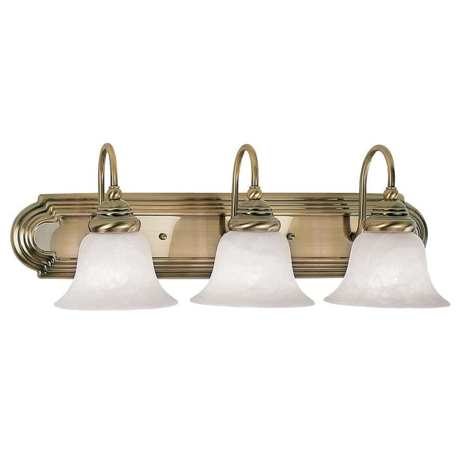 shop livex lighting 3 light belmont antique brass bathroom
