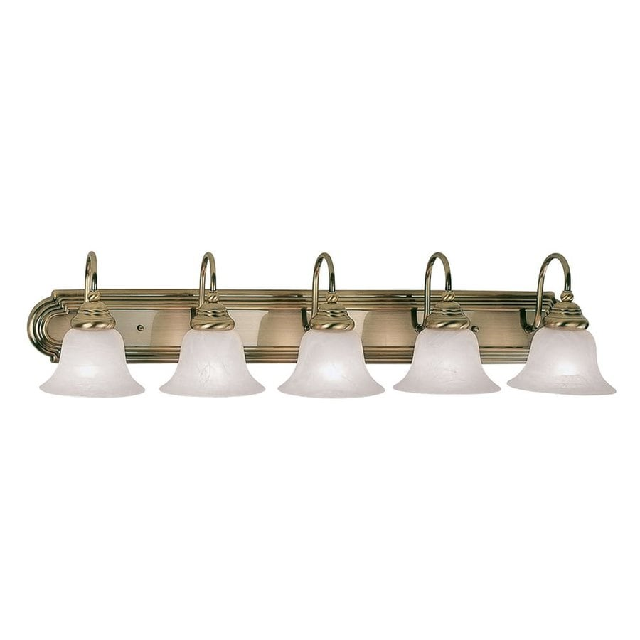 Antique Bathroom Vanity Lights : Shop Livex Lighting 5-Light Belmont Antique Brass Bathroom Vanity Light at Lowes.com