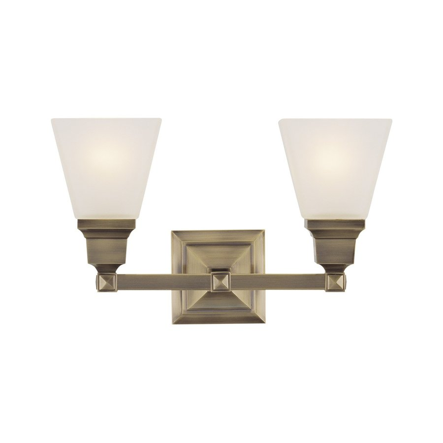 Antique Bathroom Vanity Lights : Shop Livex Lighting 2-Light Mission Antique Brass Bathroom Vanity Light at Lowes.com
