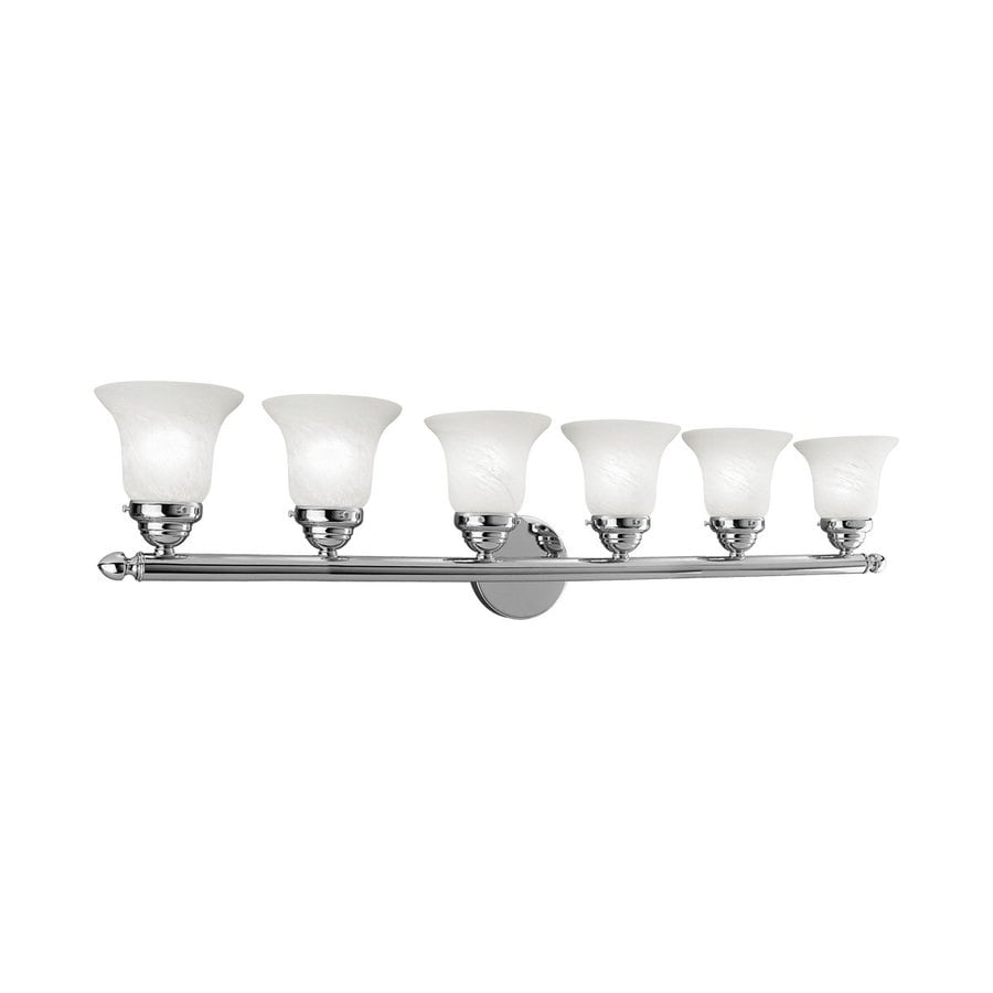 Shop livex lighting 6 light home basics chrome bathroom for 6 light bathroom vanity light