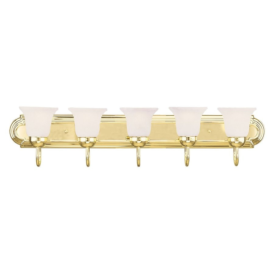 Shop Livex Lighting 5 Light Home Basics Polished Brass Bathroom Vanity Light At