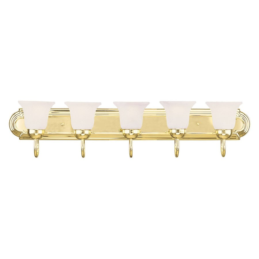 Vanity Lighting Polished Brass : Shop Livex Lighting 5-Light Home Basics Polished Brass Bathroom Vanity Light at Lowes.com