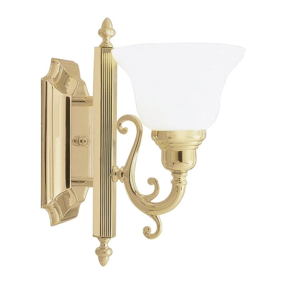 Shop Livex Lighting French Regency 6-in W 1-Light Polished Brass Art Glass Arm Hardwired Wall ...