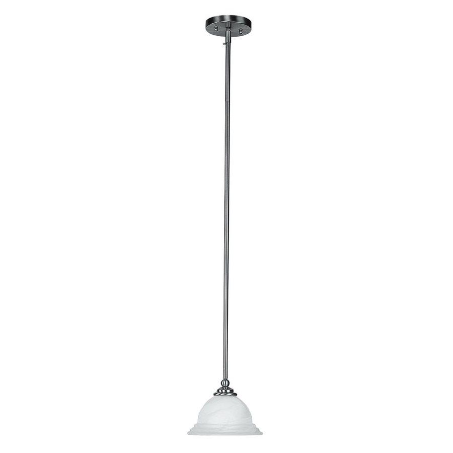 Livex Lighting North Port 8.25-in Brushed Nickel Vintage Mini Alabaster Glass Bell Pendant