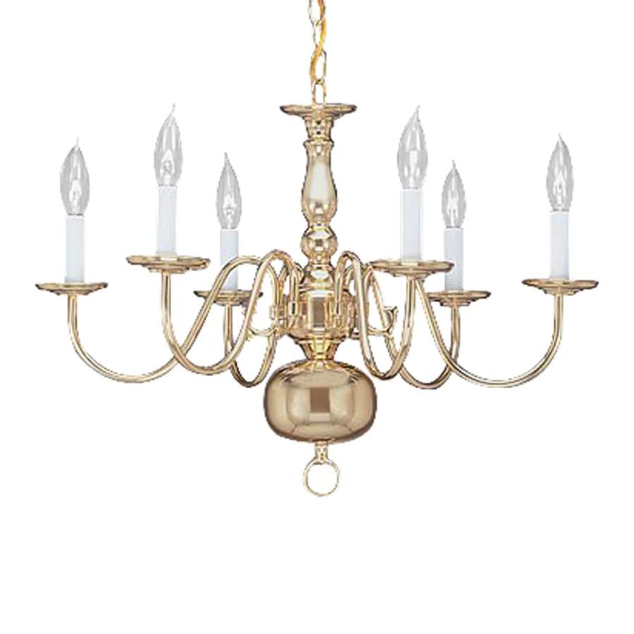 Livex Lighting Williamsburg 24-in 6-Light Polished Brass Candle Chandelier