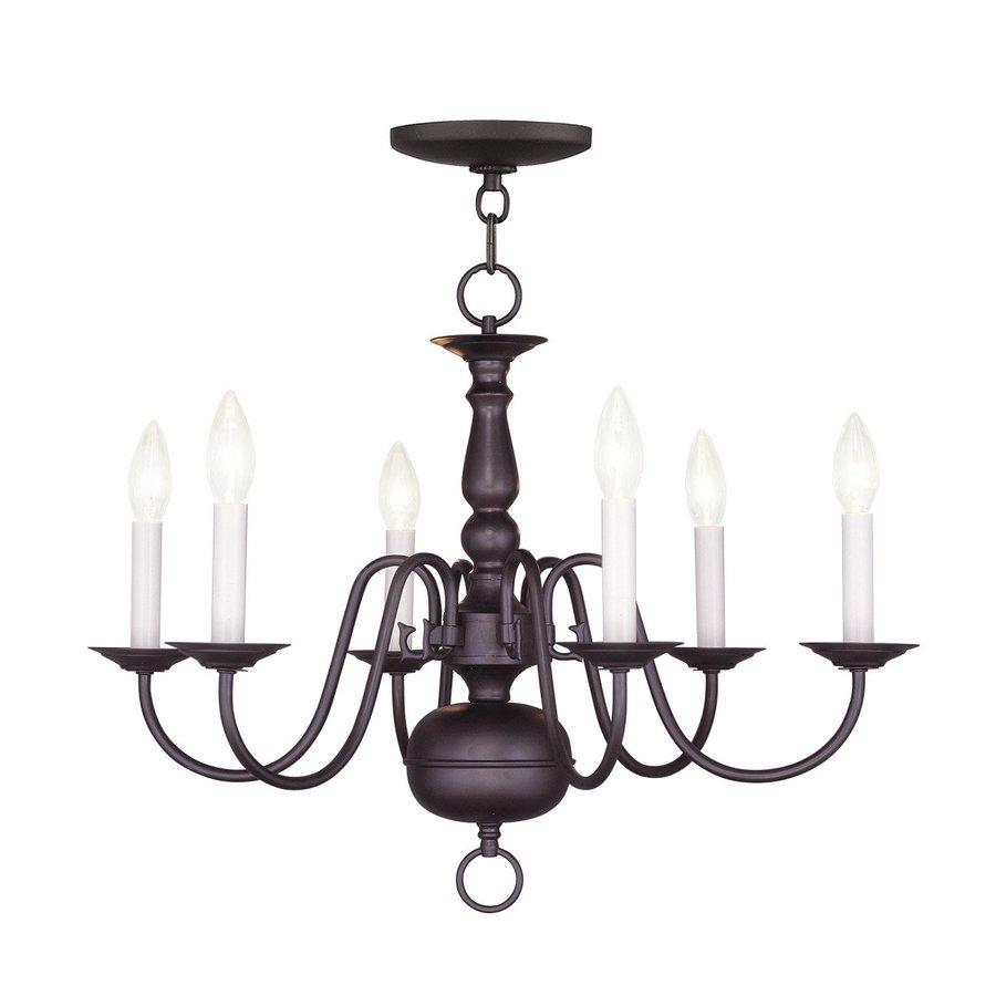 Livex Lighting Williamsburg 24-in 6-Light Bronze Candle Chandelier