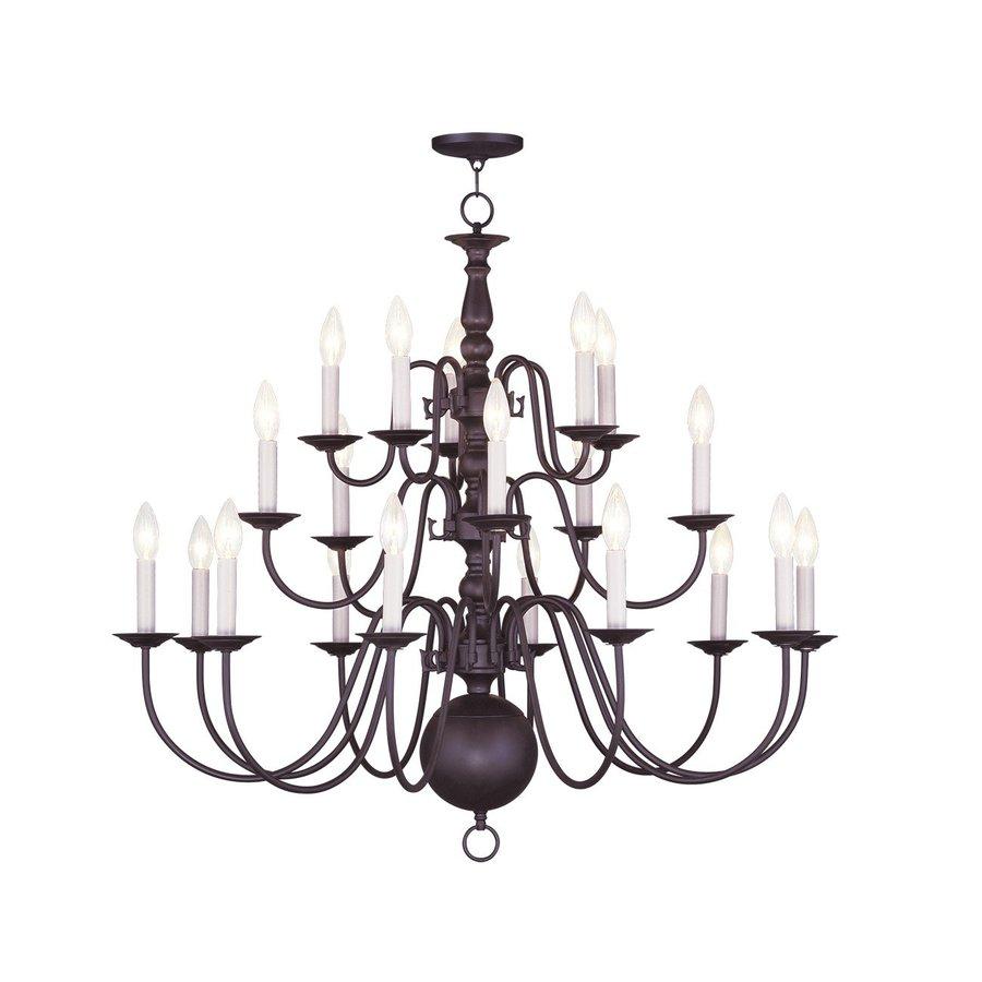 Livex Lighting Williamsburg 36-in 20-Light Bronze Tiered Chandelier