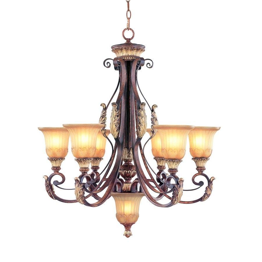 Livex Lighting Villa Verona 30-in 7-Light Verona Bronze Mediterranean Ribbed Glass Shaded Chandelier