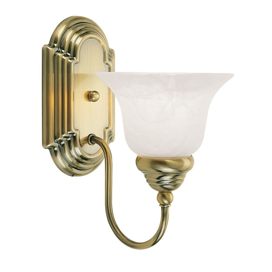 Livex Lighting Belmont 6.25-in W 1-Light Antique Brass Arm Hardwired Wall Sconce