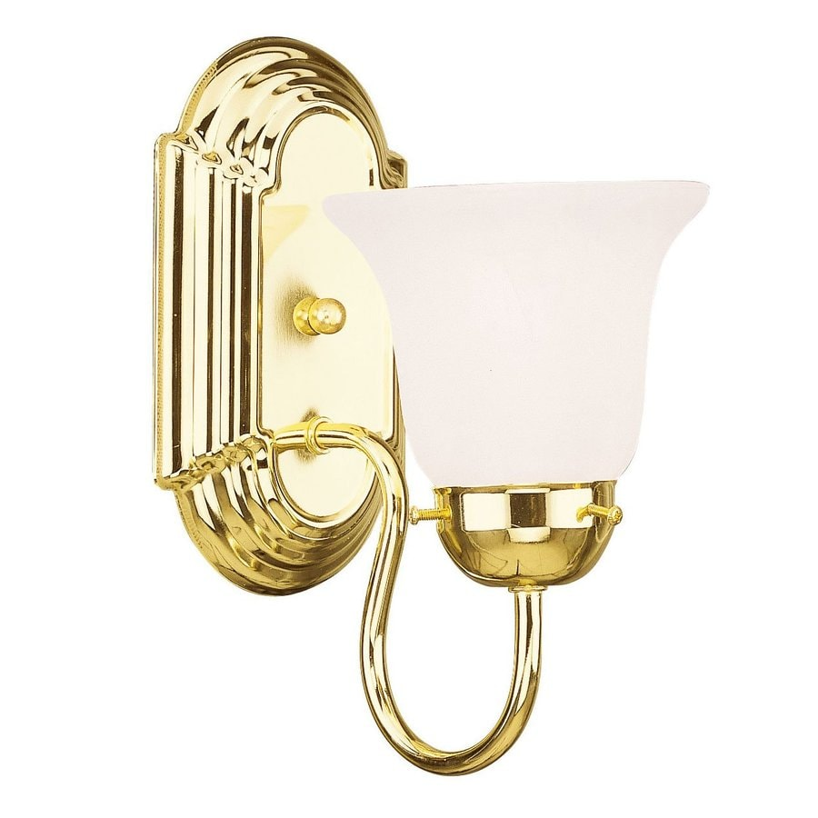Shop livex lighting home basics 5 in w 1 light polished for Home interior 5 arm sconce