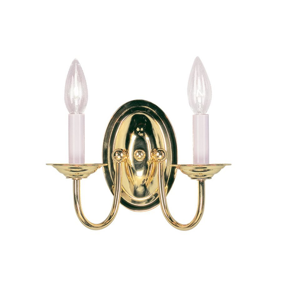 Livex Lighting Home Basics 4.25-in W 2-Light Polished Brass Arm Hardwired Wall Sconce