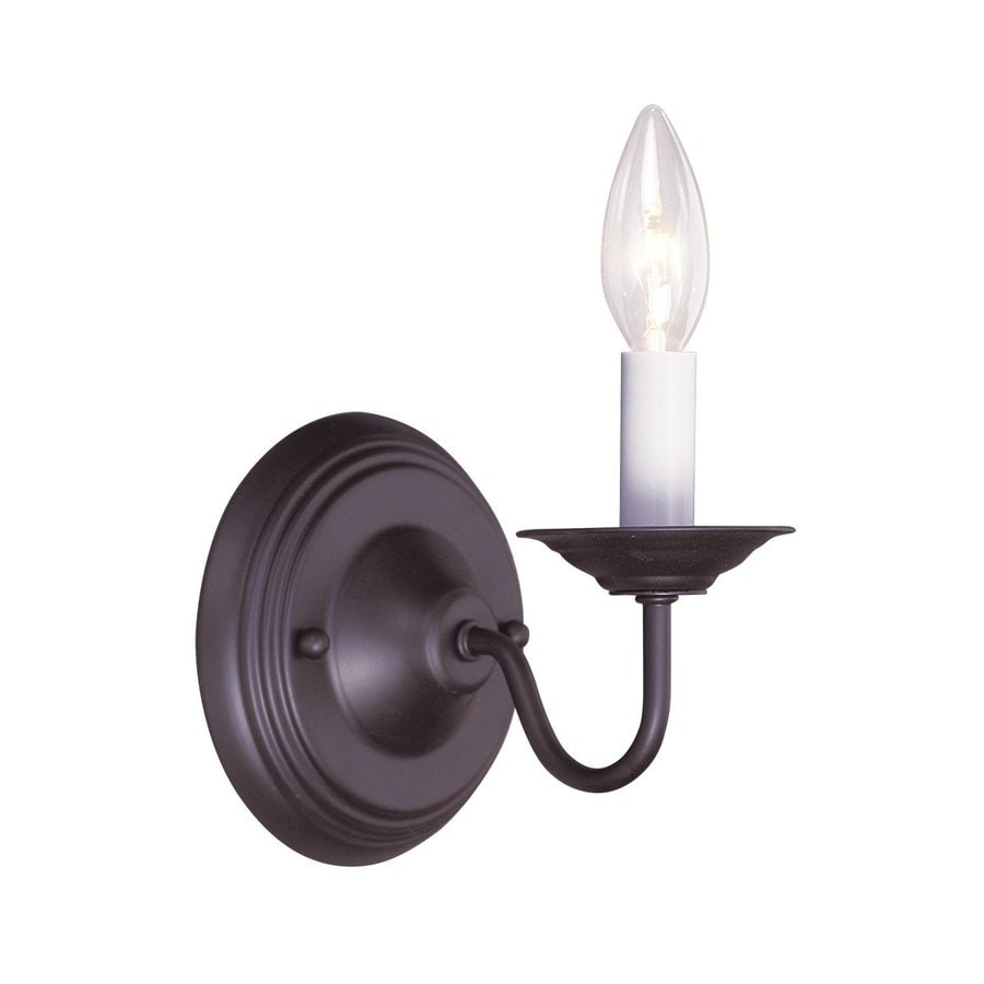 Livex Lighting Williamsburg 5-in W 1-Light Bronze Arm Hardwired Wall Sconce