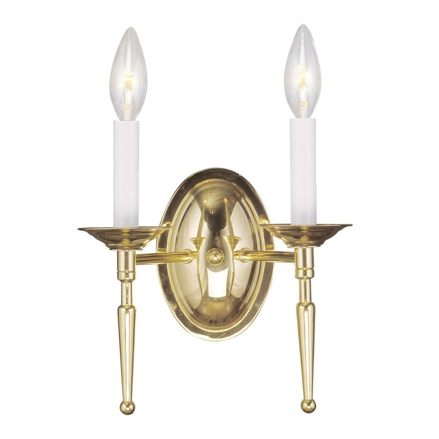 Shop Livex Lighting Williamsburg 11-in W 2-Light Polished Brass Arm Hardwired Wall Sconce at ...