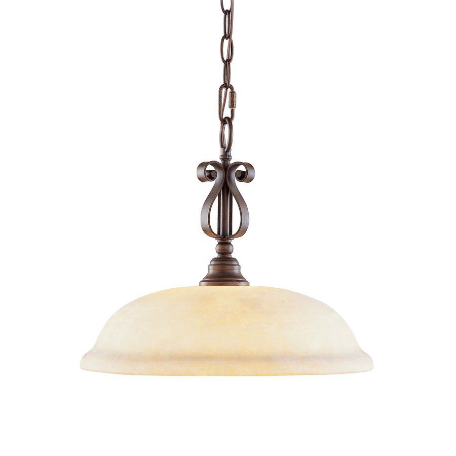 Livex Lighting Manchester 15.5-in Imperial Bronze Mediterranean Single Textured Glass Dome Pendant