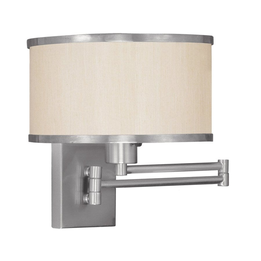 Livex Lighting Park Ridge 11-in W 1-Light Brushed Nickel Arm Hardwired Wall Sconce