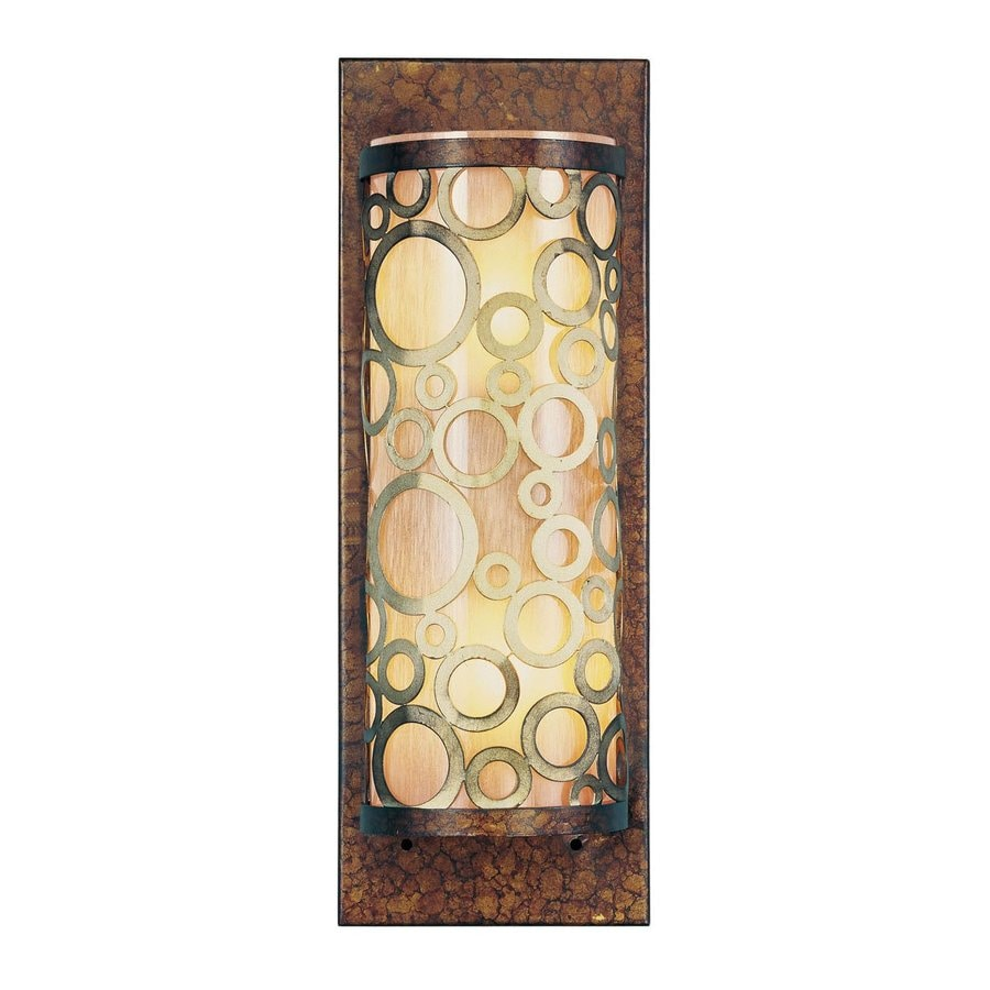 Livex Lighting Avalon 5-in W 2-Light Palacial Bronze W/ Gilded Accents Art Glass Pocket Hardwired Wall Sconce