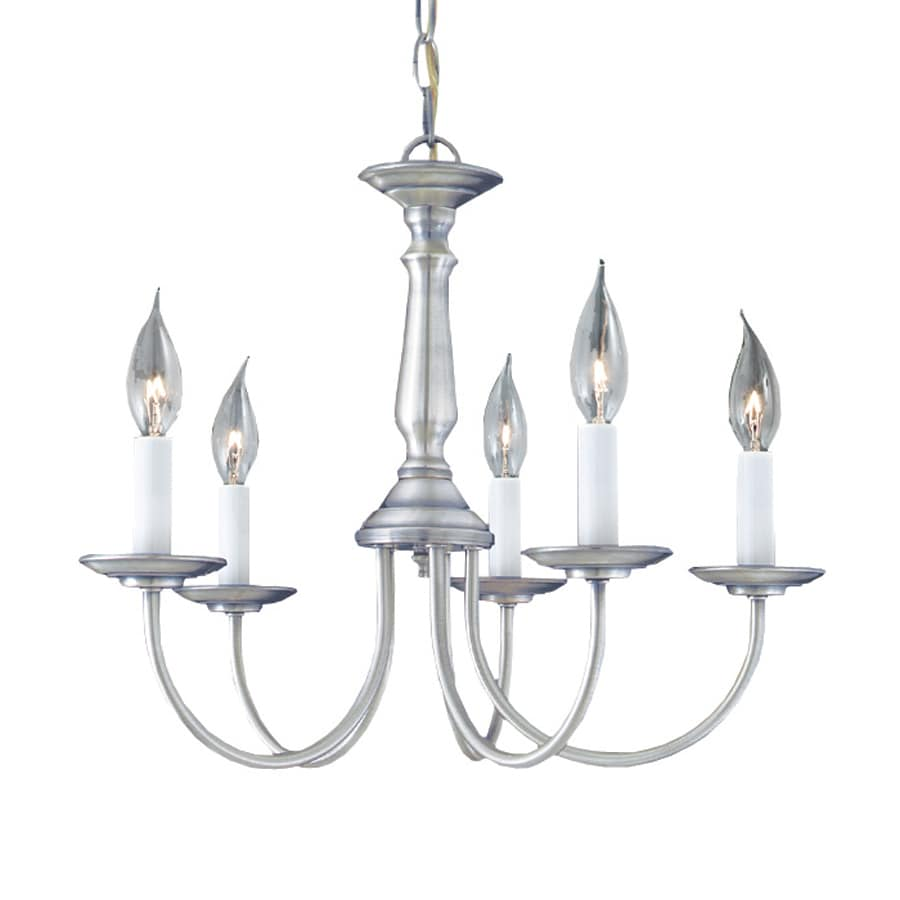 Thomas Lighting 18.75-in 5-Light Brushed Nickel Williamsburg Candle Chandelier