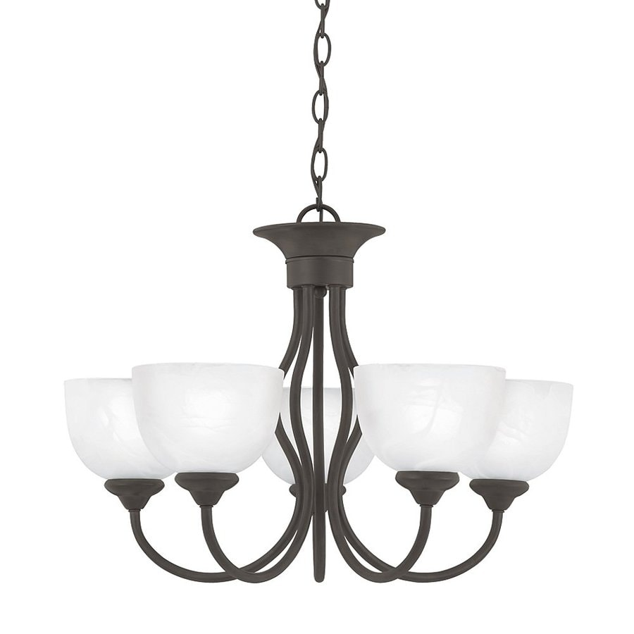 Thomas Lighting Tahoe 24-in 5-Light Painted Bronze Alabaster Glass Shaded Chandelier