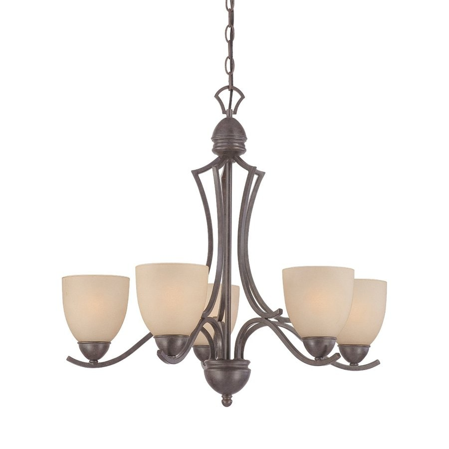 Thomas Lighting Triton 26-in 5-Light Sable Bronze Shaded Chandelier