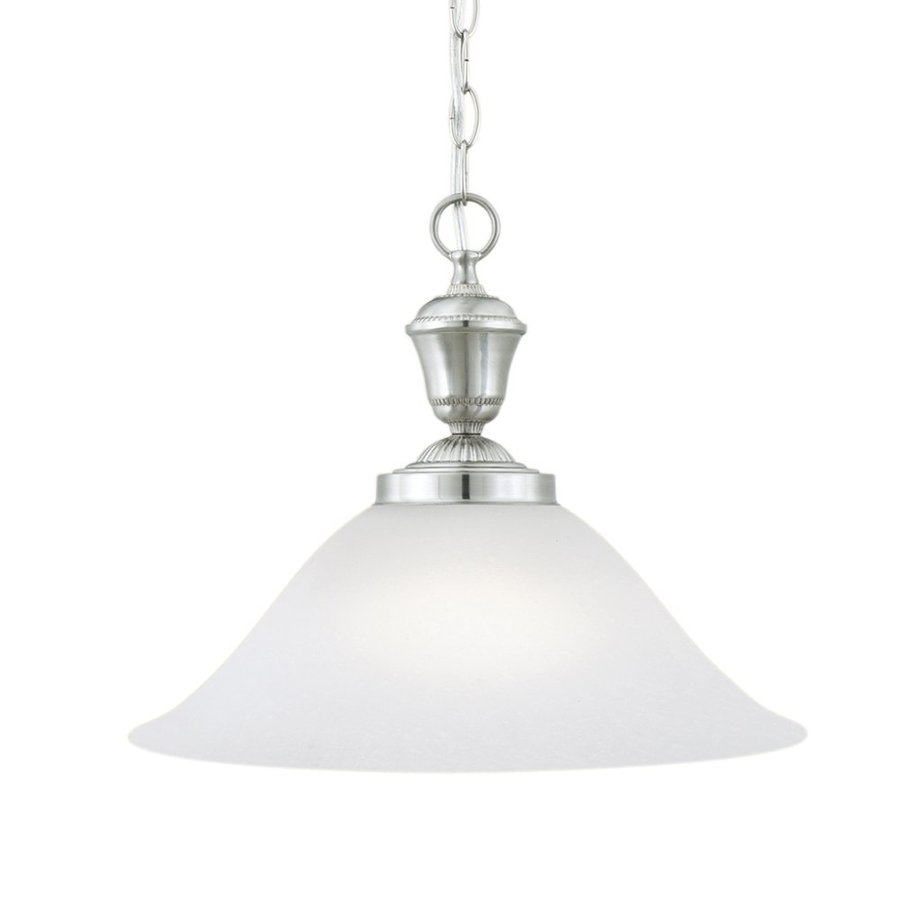 Thomas Lighting Whitmore 15.25-in Brushed Nickel Etched Glass Bell Pendant
