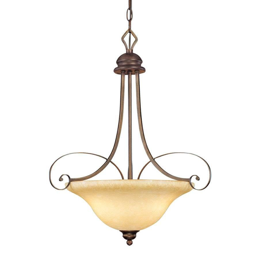 Millennium Lighting Chateau 21-in Rubbed Bronze Mediterranean Single Tinted Glass Bowl Pendant