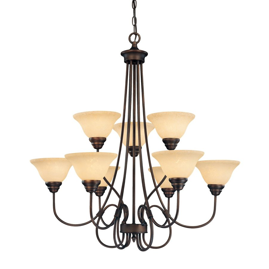 Millennium Lighting Fulton 33-in 9-Light Rubbed Bronze Scavo Glass Tiered Chandelier