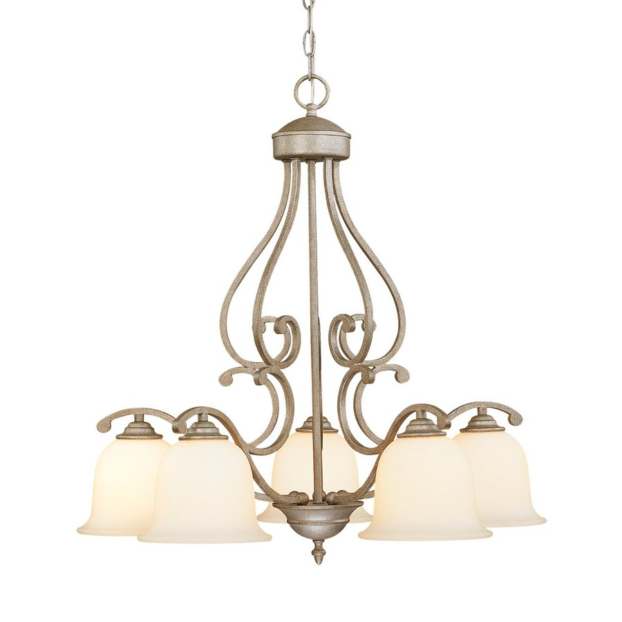 Millennium Lighting Courtney Lakes 27-in 5-Light Vintage Iron Textured Glass Shaded Chandelier