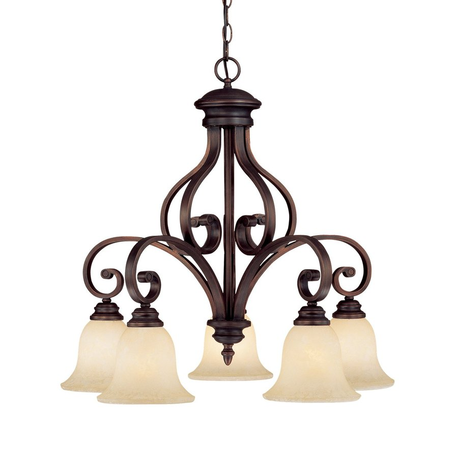 Millennium Lighting Oxford 27-in 5-Light Rubbed Bronze Scavo Glass Shaded Chandelier