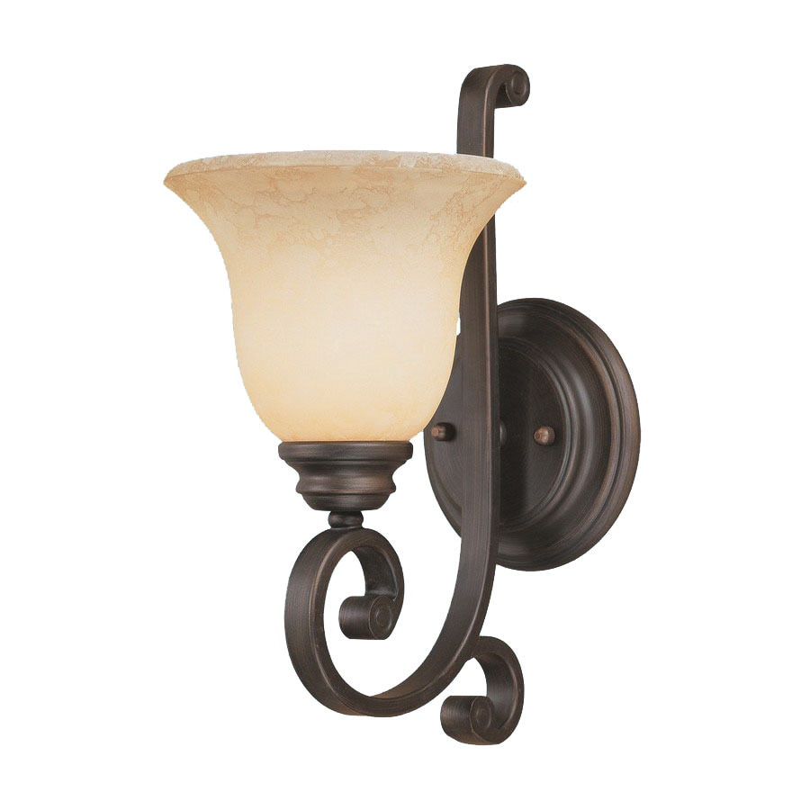 Wall Sconces Location : Shop Millennium Lighting Oxford 6.5-in W 1-Light Rubbed Bronze Arm Hardwired Wall Sconce at ...