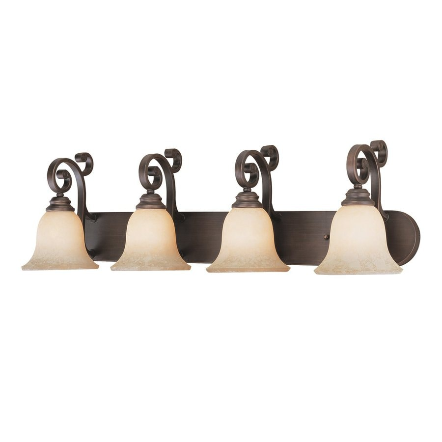 Shop millennium lighting 4 light rubbed bronze standard for Bathroom vanity lights