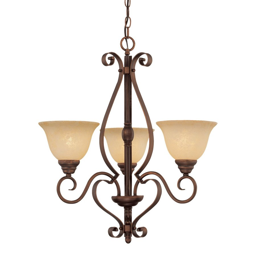 Millennium Lighting Auburn 24-in 3-Light Rubbed Bronze Mediterranean Scavo Glass Shaded Chandelier