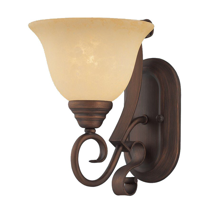 Millennium Lighting Auburn 7.5-in W 1-Light Rubbed Bronze Arm Hardwired Wall Sconce