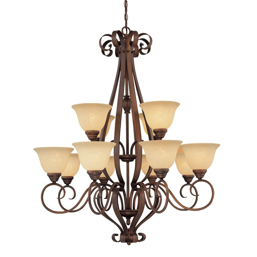 Millennium Lighting Auburn 38.5-in 12-Light Rubbed Bronze Mediterranean Scavo Glass Tiered Chandelier