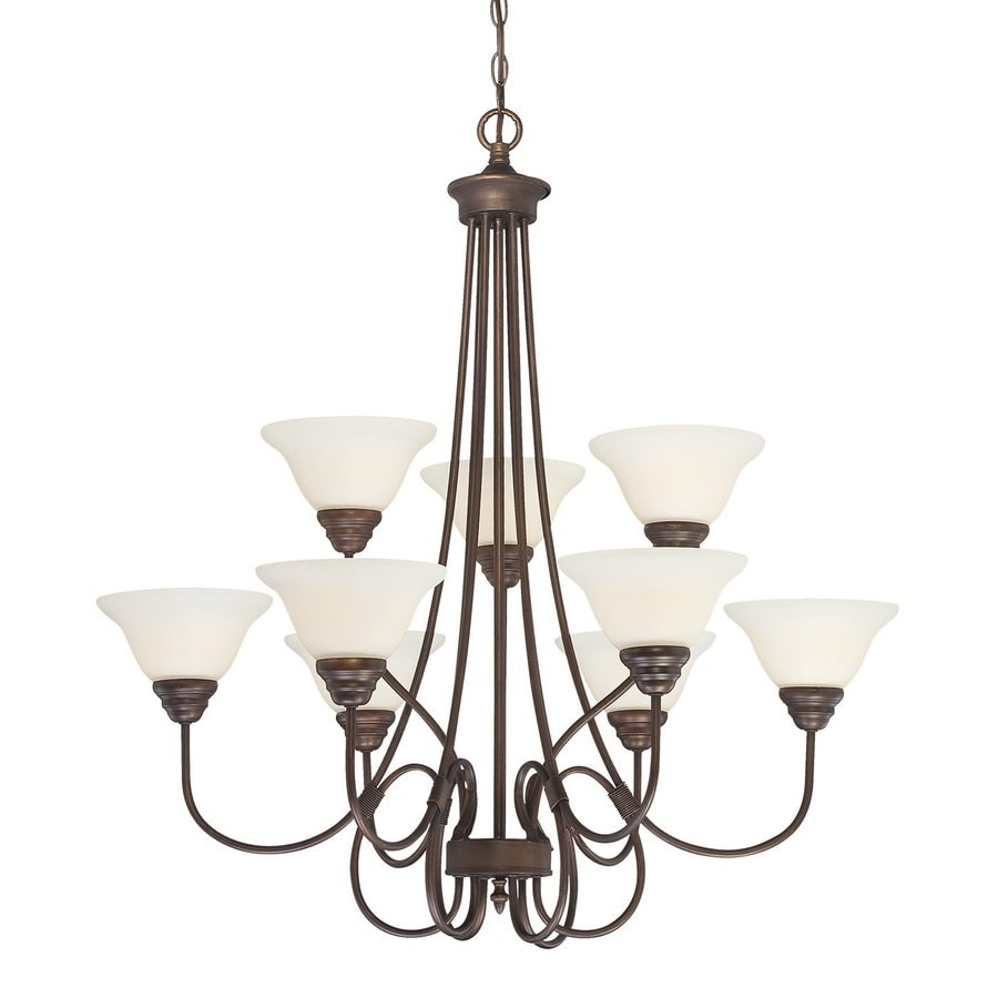 Millennium Lighting Fulton 33-in 9-Light Rubbed Bronze Etched Glass Tiered Chandelier