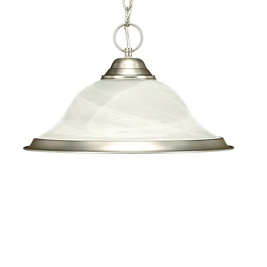 Millennium Lighting 16.5-in Satin Nickel Country Cottage Single Alabaster Glass Bell Pendant