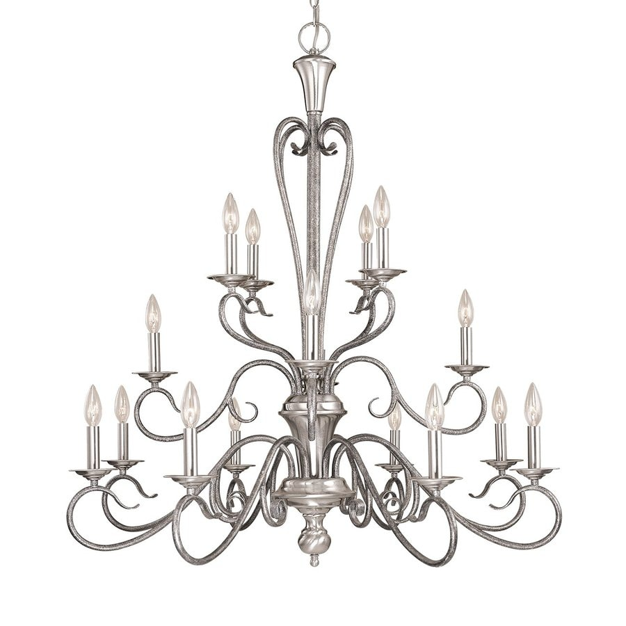 Millennium Lighting Devonshire 36.5-in 16-Light Satin Nickel/Silver Mist Vintage Candle Chandelier