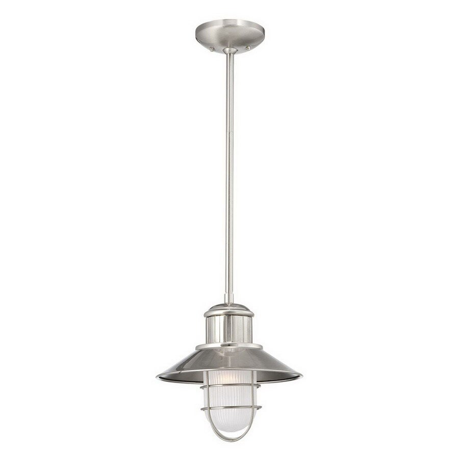 Millennium Lighting Neo-Industrial 11-in Brushed Nickel Coastal Mini Etched Glass Warehouse Pendant