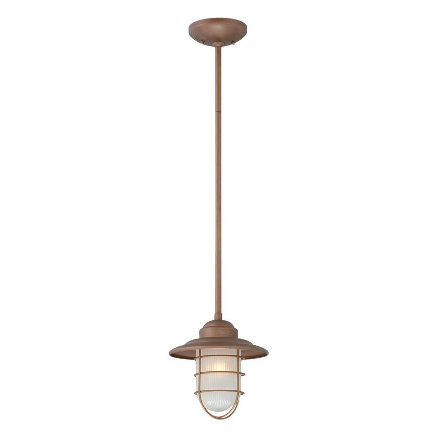 Millennium Lighting Neo-Industrial 8.5-in Copper Coastal Mini Etched Glass Warehouse Pendant