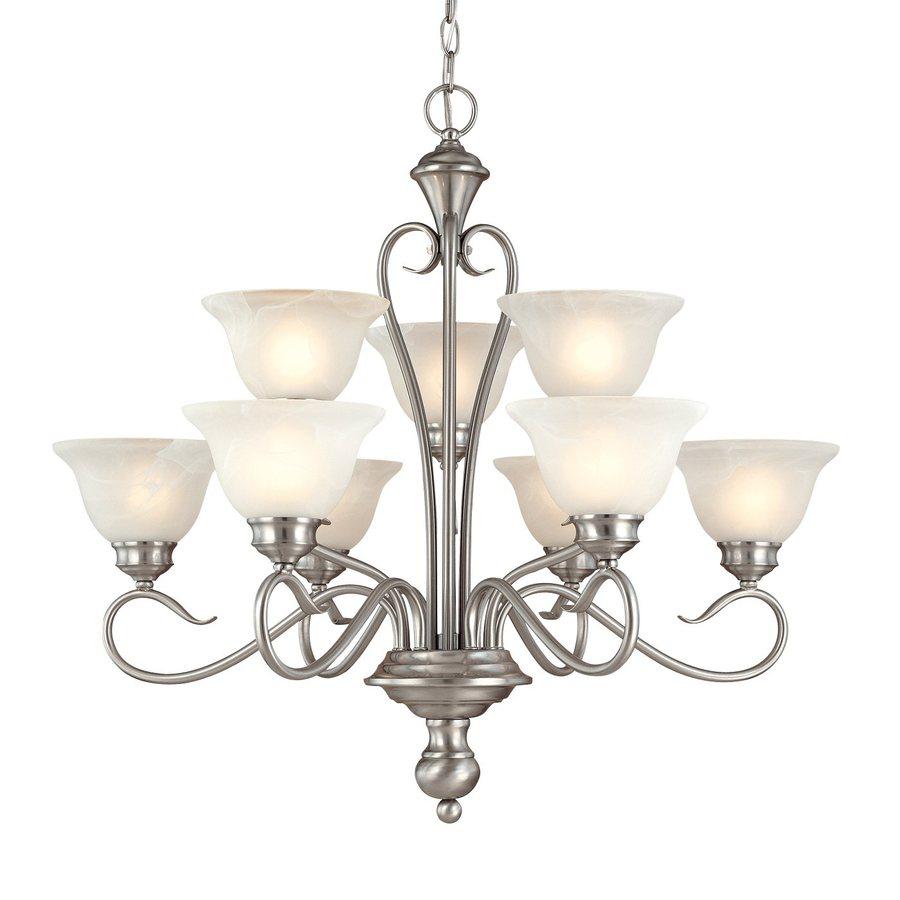 Millennium Lighting Devonshire 29-in 9-Light Satin Nickel Vintage Alabaster Glass Tiered Chandelier