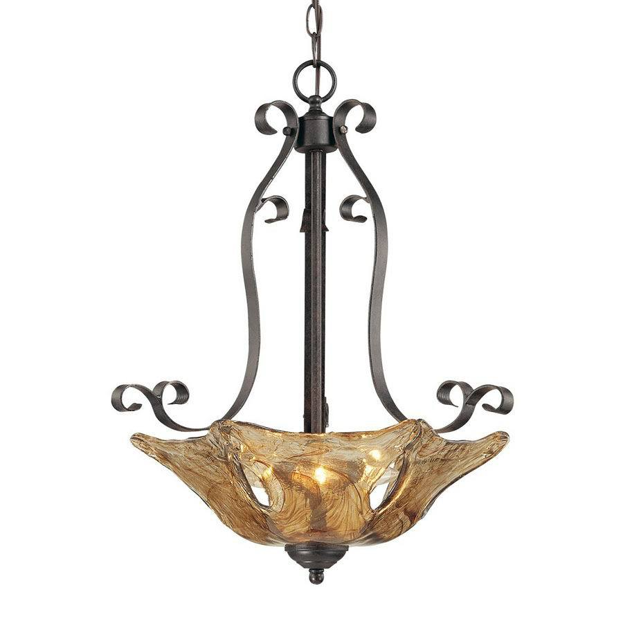 Millennium Lighting Chatsworth 19.5-in Burnished Gold Vintage Single Marbleized Glass Bowl Pendant
