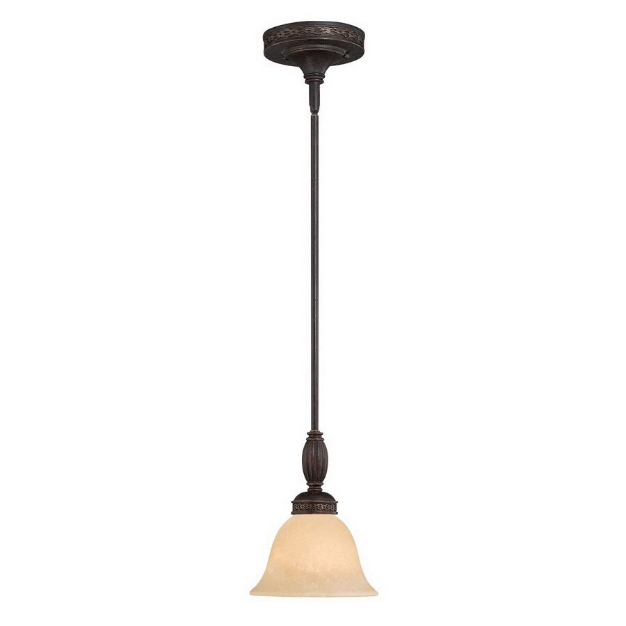 Millennium Lighting Alma 7.5-in Bronze/Gold Mini Tinted Glass Bell Pendant