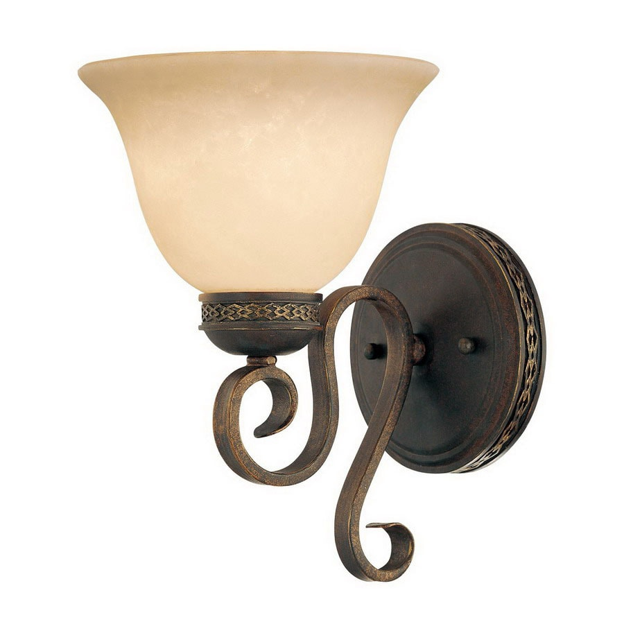 Wall Sconces Hardwired : Shop Millennium Lighting Alma 7.25-in W 1-Light Bronze/Gold Arm Hardwired Wall Sconce at Lowes.com