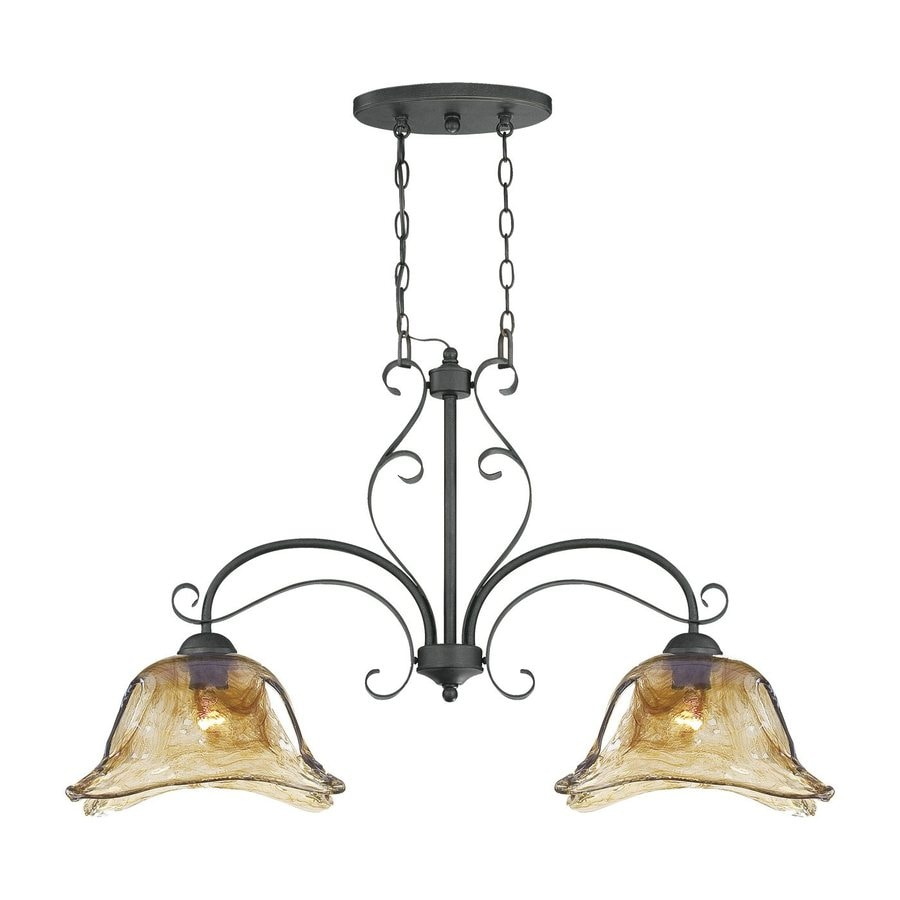 Shop millennium lighting chatsworth w 2 light burnished gold kitchen island light with shade at - Kitchen chandeliers lighting ...