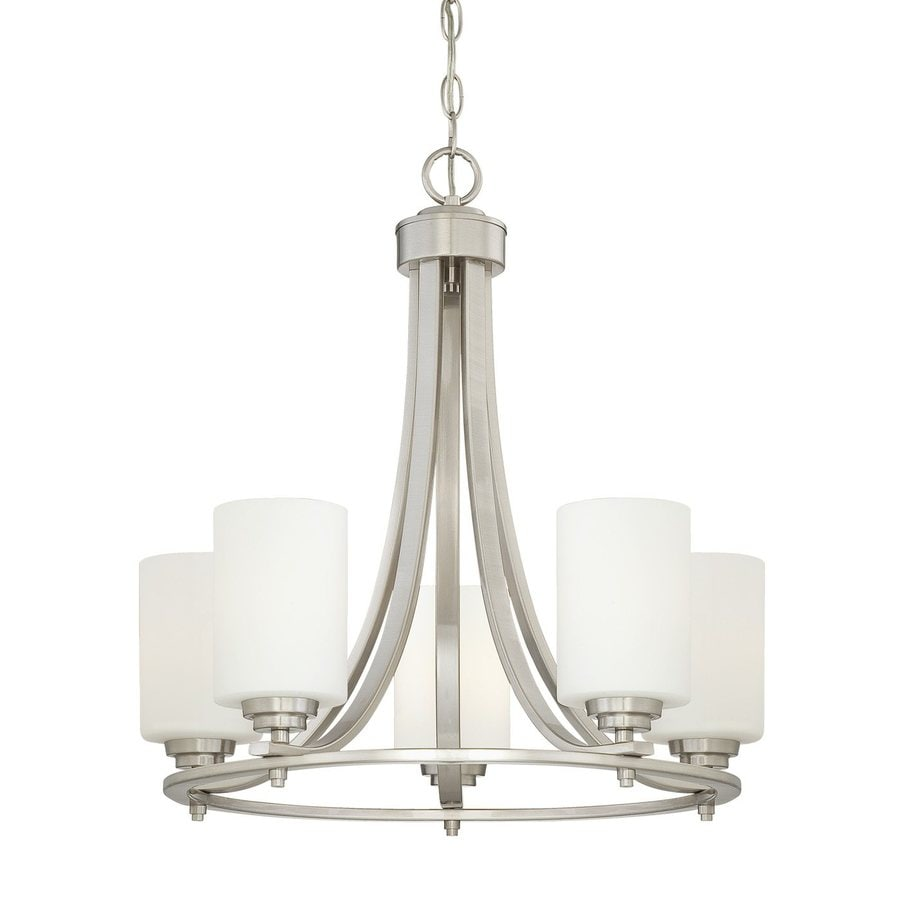 Millennium Lighting Bristo 21-in 5-Light Satin Nickel Etched Glass Shaded Chandelier