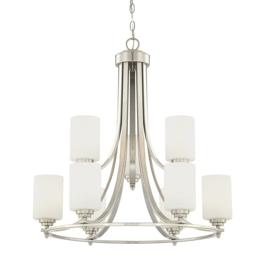 Millennium Lighting Bristo 25.5-in 9-Light Satin Nickel Etched Glass Tiered Chandelier