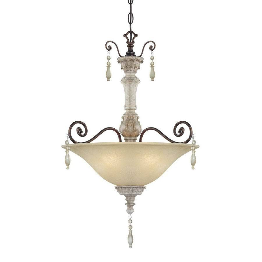 Millennium Lighting Denise 18-in Antique White/Bronze Single Tinted Glass Bowl Pendant